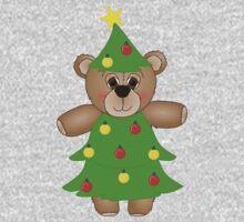 Cute Teddy Bear Dressed as a Christmas Tree Kids Clothes