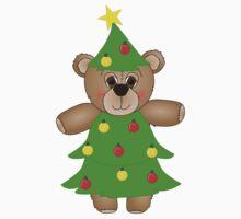 Cute Teddy Bear Dressed as a Christmas Tree Kids Tee