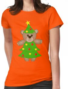 Cute Teddy Bear Dressed as a Christmas Tree Womens Fitted T-Shirt