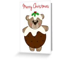 Cute Teddy Bear Dressed as a Christmas Pudding Greeting Card