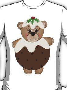 Cute Teddy Bear Dressed as a Christmas Pudding T-Shirt