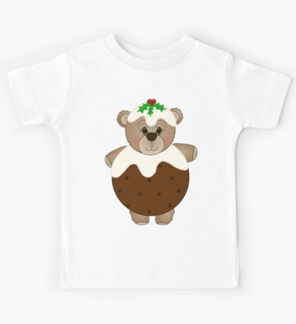 Cute Teddy Bear Dressed as a Christmas Pudding Kids Tee