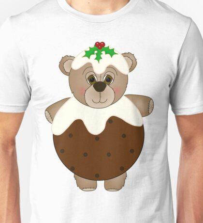 Cute Teddy Bear Dressed as a Christmas Pudding Unisex T-Shirt