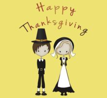Cute Cartoon Thanksgiving Pilgrims Kids Clothes