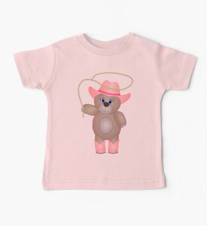 Cute Cartoon Teddy Bear Cowgirl Baby Tee