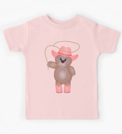 Cute Cartoon Teddy Bear Cowgirl Kids Tee