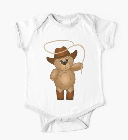 Cute Cartoon Teddy Bear Cowboy One Piece - Short Sleeve