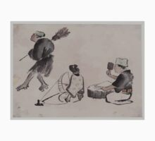 Man with a broom wearing geta woman with spinning wheel man with a mallet 001 One Piece - Short Sleeve