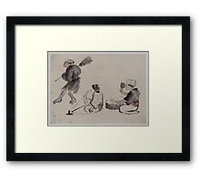 Man with a broom wearing geta woman with spinning wheel man with a mallet 001 Framed Print