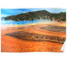 Grand Prismatic shores of steaming color Poster