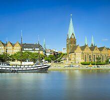 Riverside view of Bremen, Germany by Michael Abid
