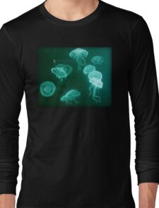 Jellyfish white pencil drawing Long Sleeve T-Shirt
