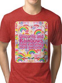 Rainbows and Unicorns Slogan Tri-blend T-Shirt