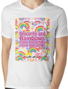 Rainbows and Unicorns Slogan Mens V-Neck T-Shirt