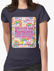 Rainbows and Unicorns Slogan Womens Fitted T-Shirt