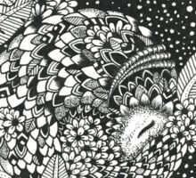 Pangolin's Dream Black and White Doodle Art Sticker