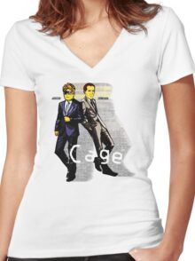 Cage Women's Fitted V-Neck T-Shirt