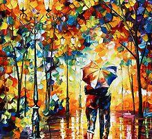 Under one Umbrella- Oil painting on Canvas By Leonid Afremov by Leonid  Afremov