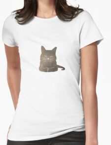 Happy cute cat illustration Womens Fitted T-Shirt
