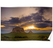 Pawnee Buttes at Sunrise Poster