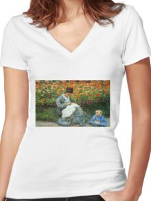 Madame Monet 3-D Redux Women's Fitted V-Neck T-Shirt
