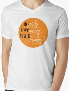 Do Justly | Micah 6:8 | Orange Mens V-Neck T-Shirt