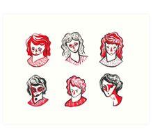 Brushpen Faces Art Print