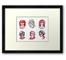 Brushpen Faces Framed Print