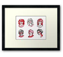 Brushpen Faces Framed Print