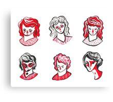 Brushpen Faces Canvas Print
