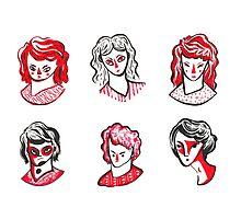 Brushpen Faces Photographic Print
