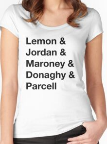 30 Rock Cast Names Women's Fitted Scoop T-Shirt