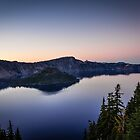 sun setting on crater lake by maria miller