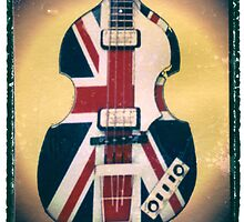 Union Jack Bass Guitar Art Print Photographic print music wall decor by guitarartprint