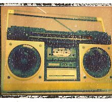 yellow boombox photographic music print dj art music wall decor by guitarartprint