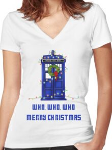Who, Who, Who, Merry Christmas  Women's Fitted V-Neck T-Shirt