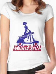 Retro look scooter girl design Women's Fitted Scoop T-Shirt