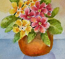 Polyanthus watercolour painting by Shoshonan