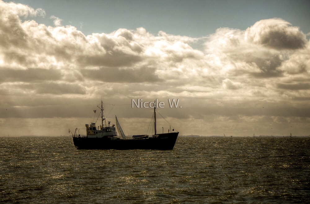 Boat out at sea by Nicole W.
