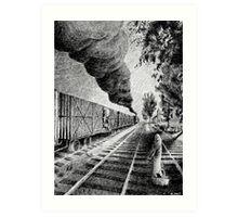 Fingerprint - Train - Black ink Art Print