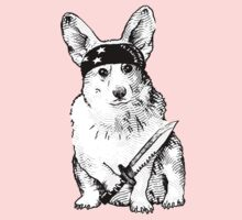 BAD dog – corgi carrying a knife Kids Clothes