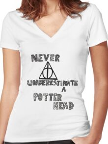 Never Underestimate a Potterhead. Women's Fitted V-Neck T-Shirt