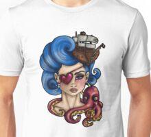 Nautical Octopus Pirate Girl Unisex T-Shirt