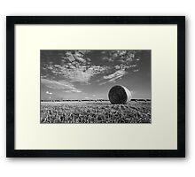 Black and White Hay Bale Landscape Framed Print