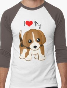 Cute Little Beagle Puppy Dog Men's Baseball ¾ T-Shirt