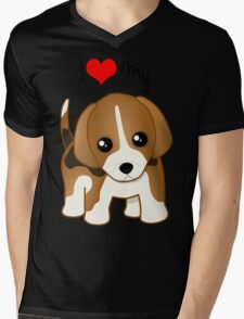 Cute Little Beagle Puppy Dog Mens V-Neck T-Shirt