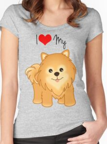 Cute Little Pomeranian Puppy Dog Women's Fitted Scoop T-Shirt