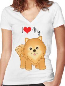 Cute Little Pomeranian Puppy Dog Women's Fitted V-Neck T-Shirt