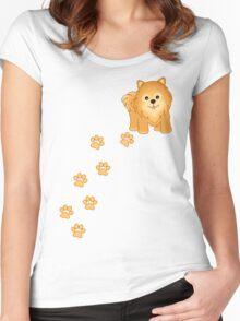 Cute Little Pomeranian Puppy Dog Women's Fitted Scoop T-Shirt