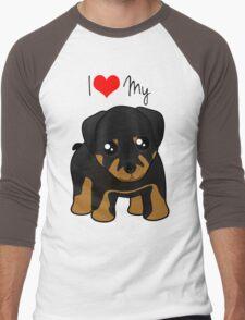 Cute Little Rottweiler Puppy Dog Men's Baseball ¾ T-Shirt